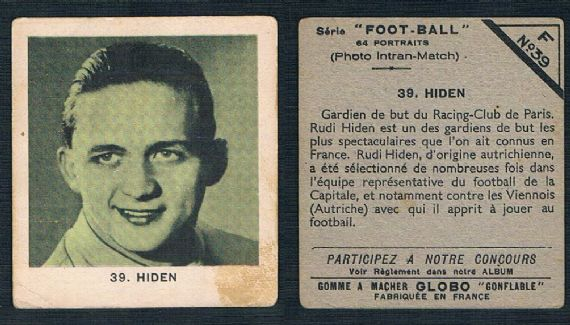 1937 Rudi Hiden Wunderteam Austria France RC Paris Hall of fame goalie top 25 greatest